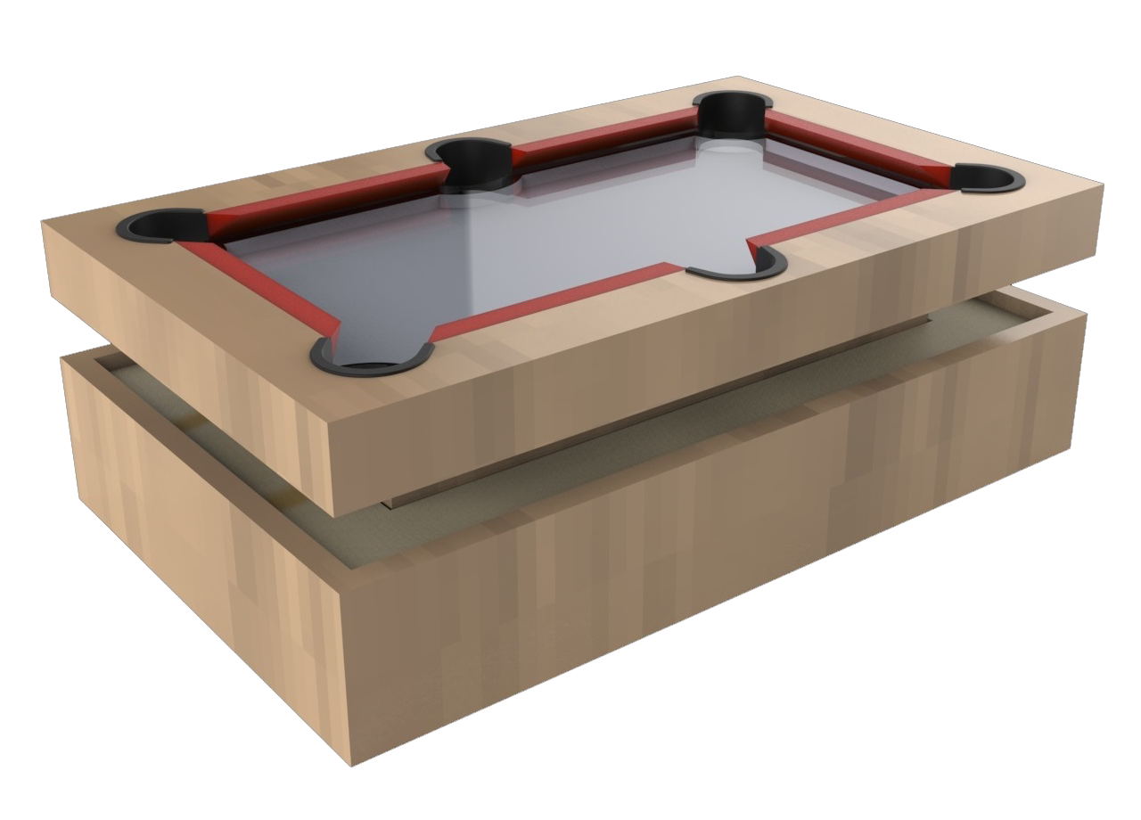 Coffee-/pool table with infinity mirror